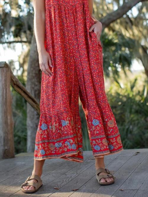 Trending now Red Floral Maxi Beach Jumpsuits