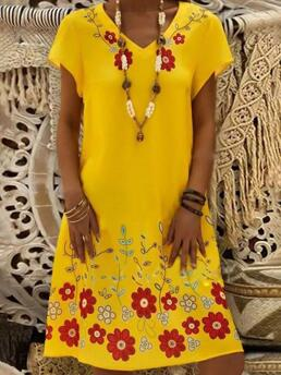 Yellow Floral V-neckline above Knee Shift Dress Cheap