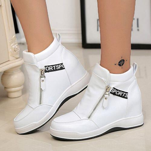 White Summer Women's Round Toe High Top on Sale Sneakers