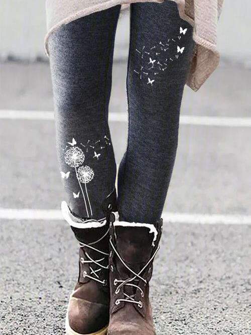 Dark Gray Skinny Floral Casual Polyester on Sale Pants