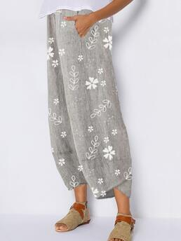 Dark Blue Loose Floral Casual Pattern Pockets Trending now