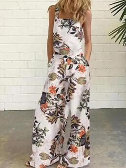 Multicolor Loose Floral Casual Pattern Pockets on Sale