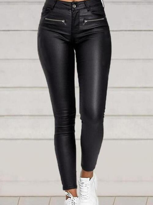 Black Straight Solid Casual Buttons Zipper Pockets Beautiful Pants