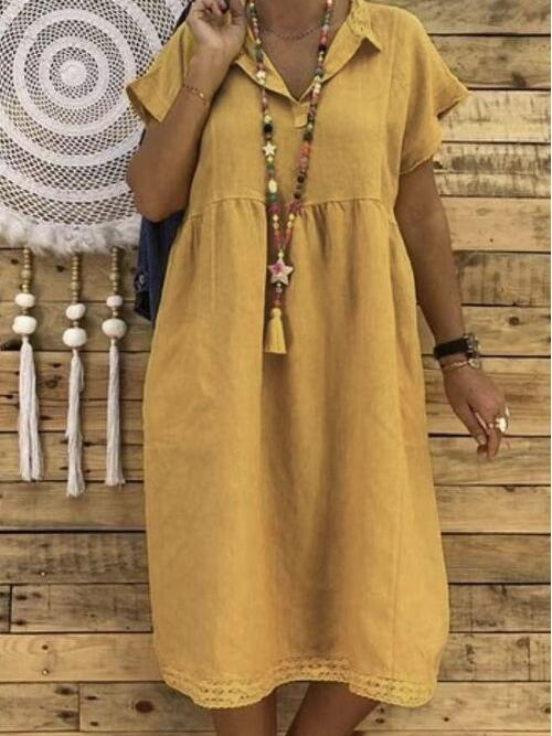 Yellow Solid Midi Short Sleeve Plus Size Collar Plus Dress Affordable