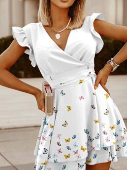 White Butterfly V-neck Mini Surplice Neck Layered Belted Dress Trending now