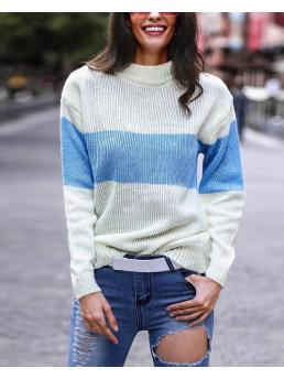 Pretty Long Sleeve Polyester Striped Blue Mohair Sweater