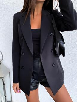 Long Sleeve Polyester Double Breasted Black Blazer Coat Beautiful