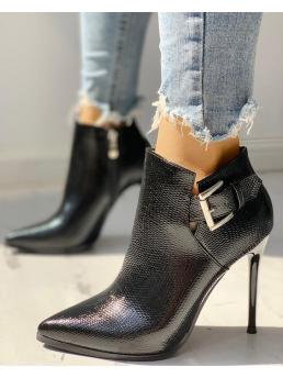 Clearance Pu Black Solid Fashion Snakeskin Point Toe Thin Heeled Ankle Boots