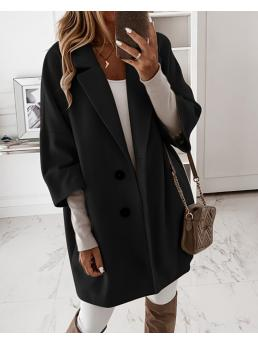 Shopping Long Sleeve Trench Coat Polyester Plain Button Design Casual Coat