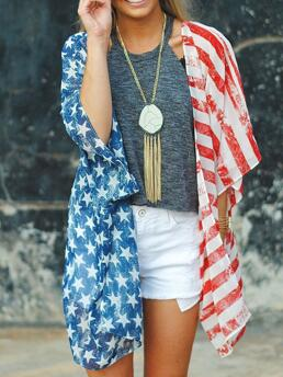 Pretty Three Quarter Length Sleeve Top Polyester Graphic Independence Day Flag Pattern Print Top