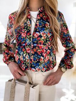 Long Sleeve Coat Polyester Floral Cheap