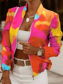 Long Sleeve Bomber Polyester Colorblock Zip Front Baseball Jacket Discount