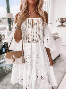 Clearance White Plain Cold Shoulder Midi Eyelet Embroidery Dress