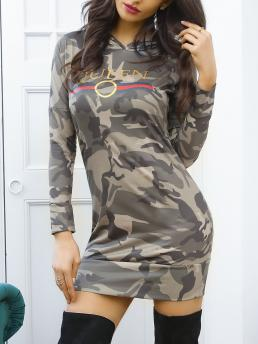 Army Green Print Hooded Neck Long Sleeve Stylish Camouflage Casual Hoodie Dress Affordable