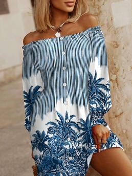 Clearance Blue all over Print off Shoulder Mini Front Flounce Sleeve Casual Dress