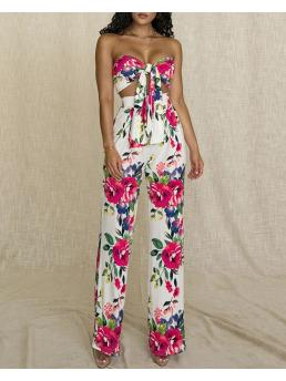 Red Pants Sets Floral Regular Knotted Front Bandeau Top & High Waisted Pants Set Discount