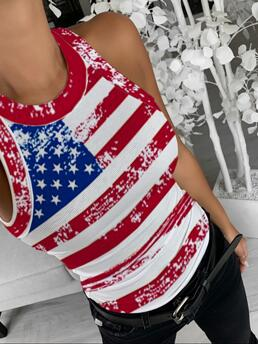 Sleeveless Top Polyester Graphic Flag Pattern Print Top Clearance