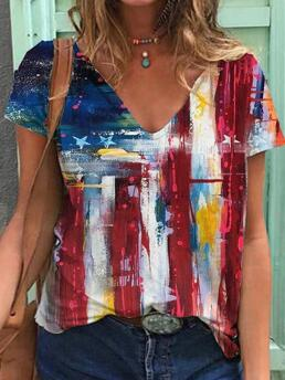 Short Sleeve Tee Polyester Colorblock Independence Day Flag Pattern Print T-shirt Sale