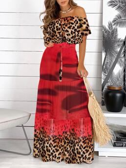 Red Colorblock off Shoulder Maxi Cheetah Print Dress on Sale