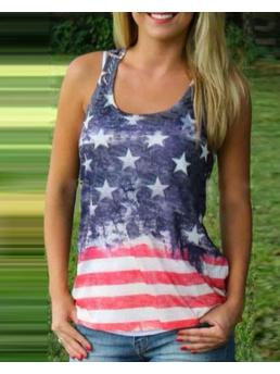 Sleeveless Tank Polyester Graphic Independence Day Flag Pattern Print Top Shopping