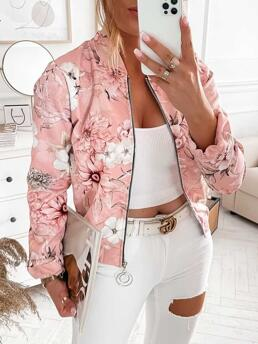 Sale Long Sleeve Bomber Polyester Floral