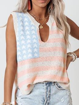 Sleeveless Top Polyester Graphic Independent Day Flag Print Tank Top Cheap