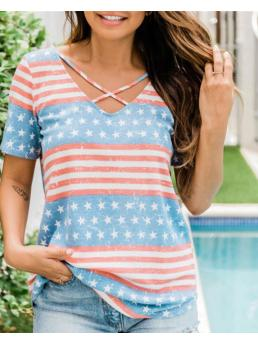 Womens Short Sleeve Top Polyester Graphic Independence Day Flag Print Cutout T-shirt