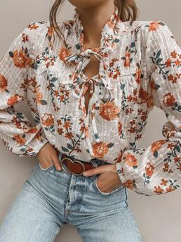 Long Sleeve Blouses Polyester Floral Tied Front Ruched Blouse Pretty