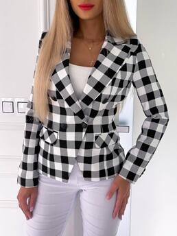 Long Sleeve Blaze Polyester Plaid Double Breasted Colorblockr Coat Sale