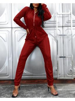 Womens Red Jumpsuit Sequin Skinny s Zipped Design Tied Waist