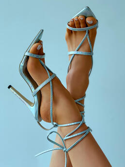 Trending now Pu Silver High Heel Toe Post,point Toe / Pointed Toe Strappy Stiletto Heels