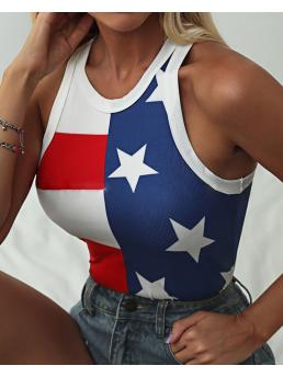 Sale Sleeveless Tank Polyester Graphic Independence Day Flag Print O Neck Thick Strap Top