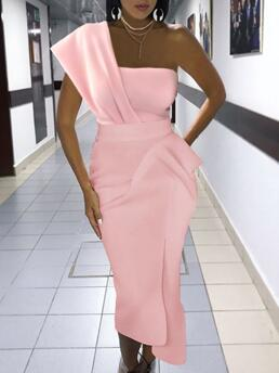 Discount Pink Plain One Shoulder Midi Solid Ruched Dress