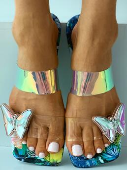 Affordable Blue Flat Square Toe Floral Butterfly Pattern Sliippers