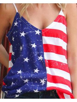 Womens Sleeveless Top Polyester Graphic Independence Day Flag Pattern Print Spaghetti Strap Top