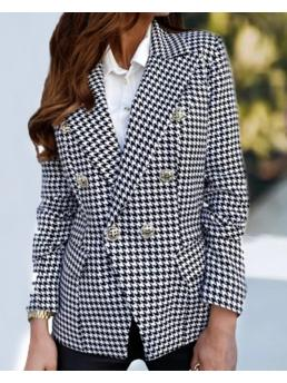 Clearance Long Sleeve Blaze Polyester Houndstooth Double Breastedr Coat