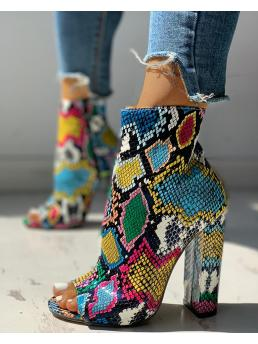 Shopping Pu Multicolor Snakeskin Fashion Colorful Chunky Heeled Boots