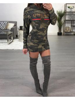 Trending now Army Green Print Hooded Neck Long Sleeve Stylish Camouflage Casual Hoodie Dress