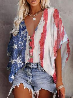 Half Sleeve Tee Polyester Graphic Floral Print Button Front Batwing Sleeve Top Discount