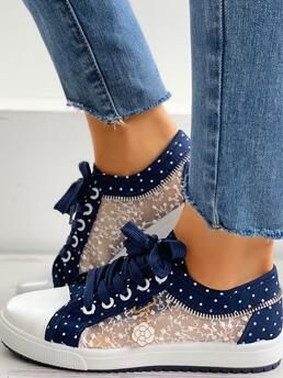 Womens Polyester,mesh Dark Blue Sneakers Eyelet Lace-up