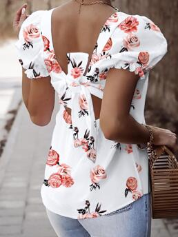 Trending now Short Sleeve Regular Polyester Floral Square Neck Hollow-out Knot Back Bubble Sleeve Blouse