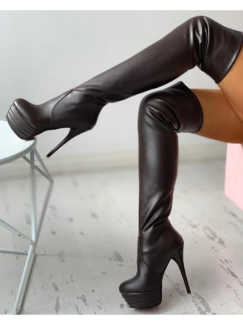 Pu Black other Plain Pointed Toe over Knee Stiletto Heeled Boots Sale
