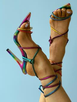 Womens Pu Multicolor High Heel Point Toe / Pointed Toe Strappy Stiletto Heels