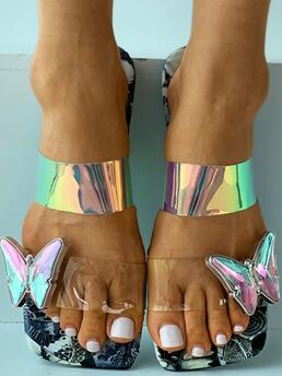 Gray Flat Square Toe Floral Butterfly Pattern Sliippers Trending now
