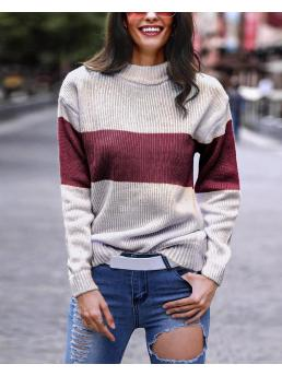 Long Sleeve Polyester Striped Red Mohair Sweater Sale