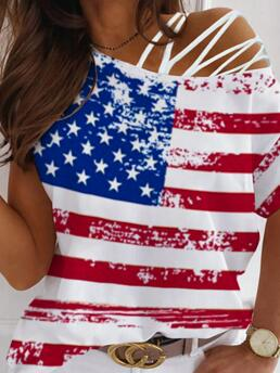 Cheap Short Sleeve Tee Polyester Graphic Lace-up Flag Pattern Print T-shirt