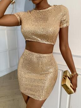 Gold Sequin Round Neck Mini Two-piece Dress Cheap