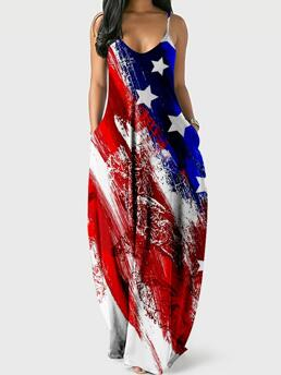 Style1 all over Print V-neck Maxi Independence Day Print Sling Dress Pretty