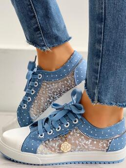 Polyester,mesh Lighted Blue Sneakers Eyelet Lace-up Pretty