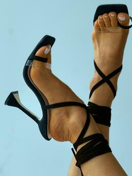 Black High Heel Square Toe Snakeskin Ring Clear Perspex Strappy Pyramid Heels on Sale